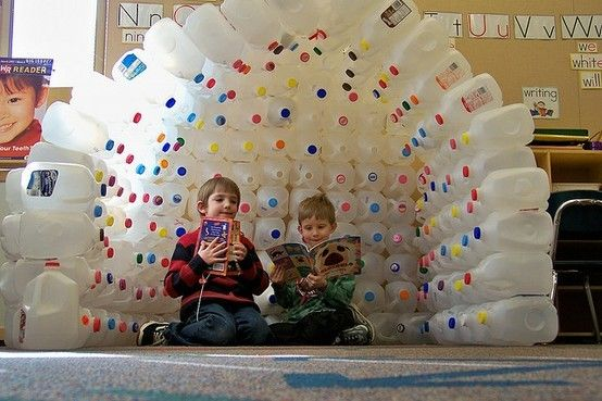 the new reading space in Mrs. Grants kindergarten class at Brooks School Elementary. Students have been collecting empty milk jugs to construct an igloo for a cool and cozy reading place. Mrs. Grant emphasizes the importance of reusing materials. kids-crafts