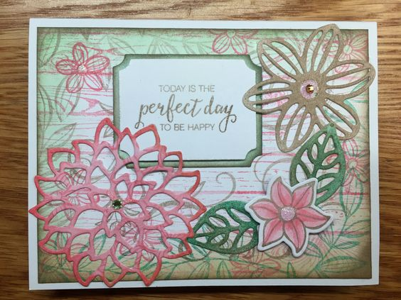 """Stamping Up bundle """"Falling Flowers"""" I used Tip Top Taupe, Flirty Flamingo & Emerald Envy SU inks. Get the bundle here: http://www.stampinup.com/ECWeb/ProductDetails.aspx?productID=142329&dbwsdemoid=2158591"""