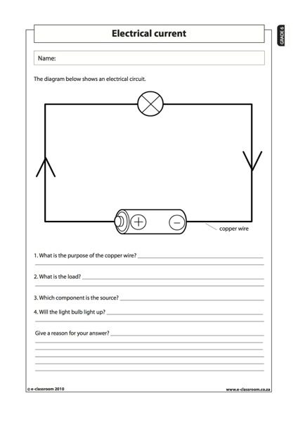 Printables Ed Science Worksheets For Grade 6 electrical current 2 natural science worksheet grade 6 6