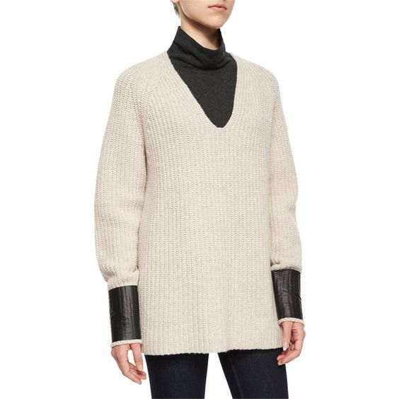 rag & bone/JEAN Bonnie V-Neck Ribbed Sweater ($340) ❤ liked on Polyvore featuring tops, sweaters, oatmeal, ribbed v neck sweater, pink v neck sweater, oatmeal sweater, ribbed sweater and v-neck tops