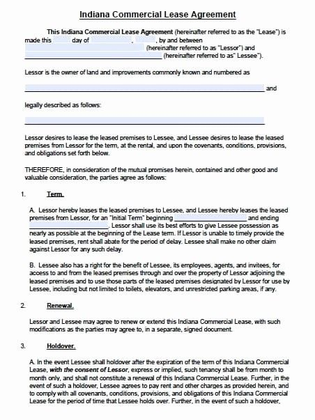 Elegant Free Indiana Mercial Lease Agreement Template Pdf Word