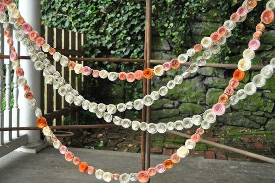 Hochzeit Girlande Papier Blumen Orange Elfenbein von lillesyster