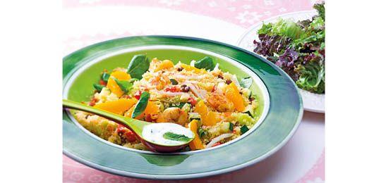 Salada de cuscuz com camaro e delcias do mar