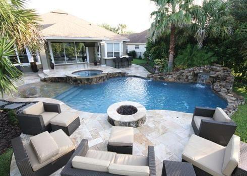 Pin By Elizabeth Doyle On Backyard Ideas Fire Pit Next To Pool Fire Pit Designs Backyard Pool