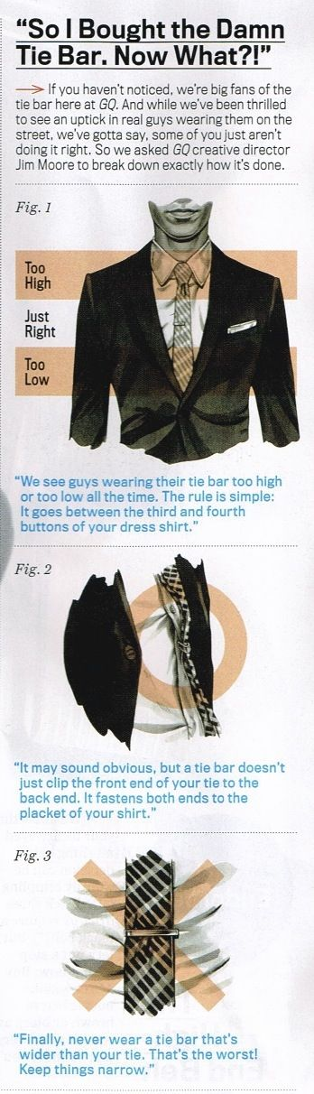 Found this in GQ: LOVE how it explains the correct way to place a tie bar. (Not a lot of sources. for this kind of simple info, are out there)