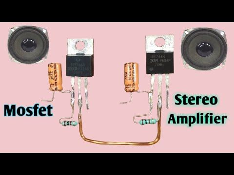 Stereo Audio Amplifier Using Mosfet Z44 Youtube Audio Amplifier Mini Amplifier Diy Amplifier