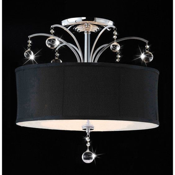 Modern Drum Ceiling Lights : Modern light black drum crystal flush chandelier ceiling