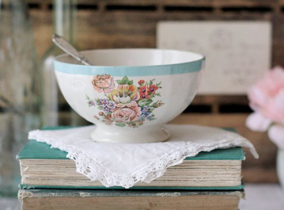 Vintage French Floral Cafe au Lait Bowl - Turquoise with Multi Colored Bouquet Flowers - circa 1930s