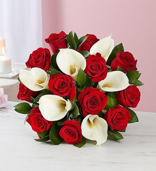 Red Rose Calla Lily Bouquet For Valentine S Day Flowers In 2020 Red Rose Bouquet Red Wedding Flowers Calla Lily Bouquet