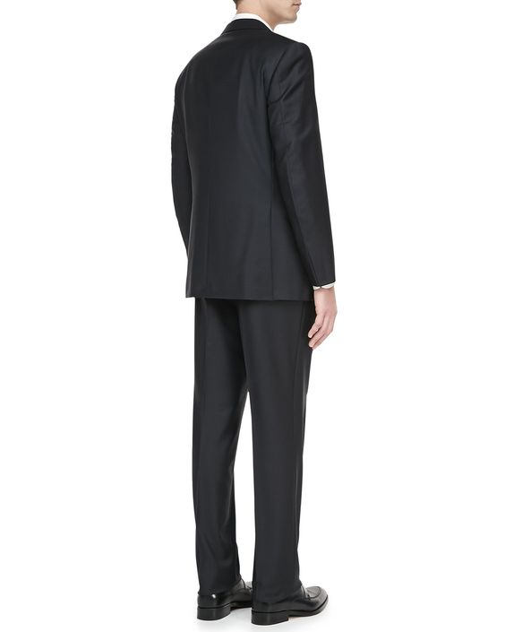 Two-Piece Tonal-Striped Suit, Charcoal/Black