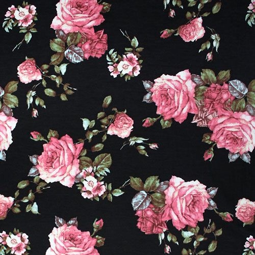 Antique Pink Roses On Black Cotton Jersey Blend Knit Fabric Another Designer Overstock Score Pink Ros Vintage Roses Colorful Backgrounds Antique Pink Roses