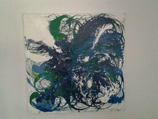 Pintura abstracta esmalte y acrilico.Cruz Frances