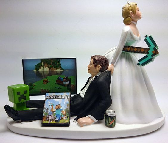Minecraft Funny Wedding Cake Topper Bride And Groom Etsy Shop