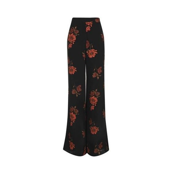 Wide Leg Floral Trouser by Nobody's Child ($31) ❤ liked on Polyvore featuring pants, black, wrap pants, floral print pants, flared cropped pants, boho flare pants and boho wide leg pants