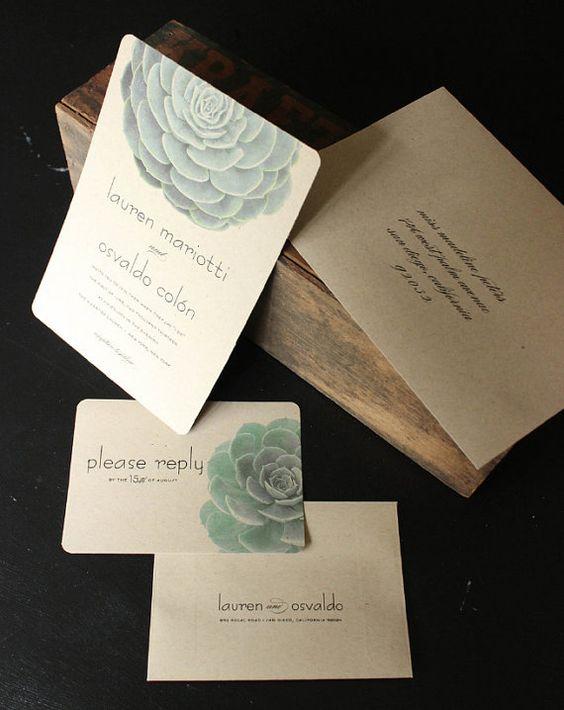 Succulent Wedding Invitation  Modern Garden by oakandorchid, $4.90