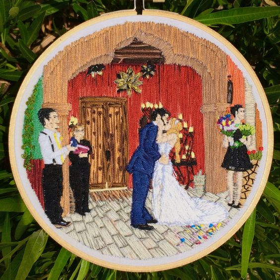 Hand Embroidered Photograph Wedding by BearBearEmbroidery on Etsy