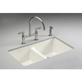 KOHLER K-5840-5U-96 Anthem Cast Iron Undercounter Kitchen Sink with Five Hole Faucet Drilling in Biscuit