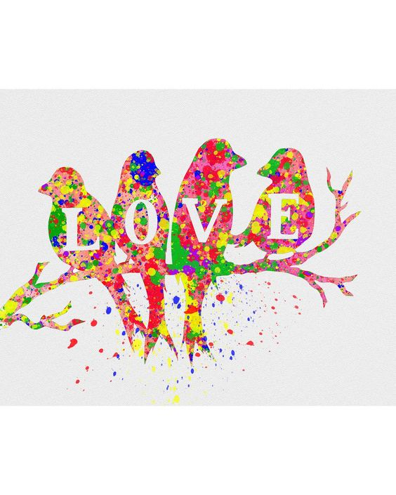 Love Birds Watercolor Art: