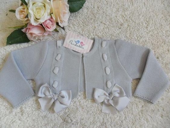 Chaqueta corta gris con lazos raso pardalets ropa para - Lazos para bebes ...