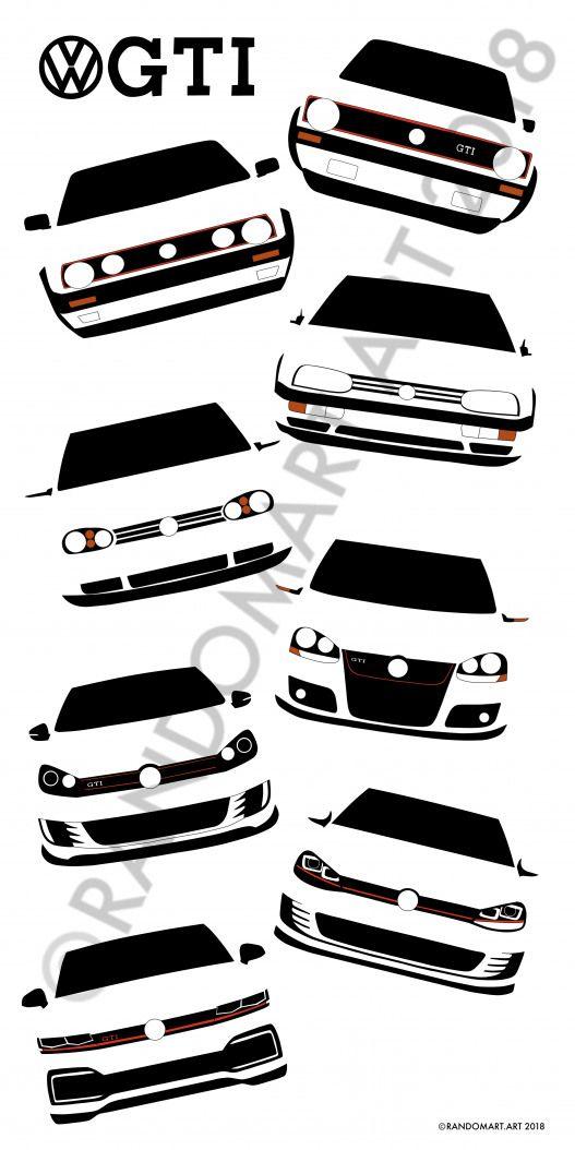 Vw Gti Mk1 To Mk8 Golf Golf Dibujo Golf Gti Volkswagen Golf Volkswagen Golf Mk1