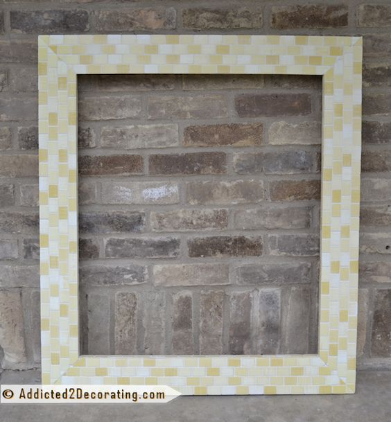 Bathroom Makeover Day 14 Diy Mosaic Wood Tile Mirror Frame Finished Brick Colors The Wall