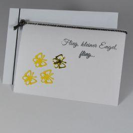 """Trauerkarte für ein verstorbenes Kind """"Schmetterlinge"""" in gelb - für Kinder - Trauer- und Kondolenzkarten - Cardlove.de"""