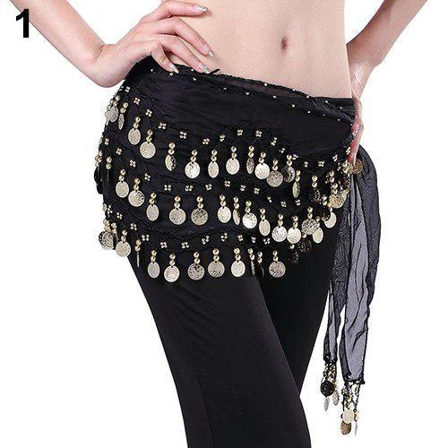 US Chiffon Dangling Gold Silver Coins Belly Dance Hip Skirt Scarf Wrap Belt
