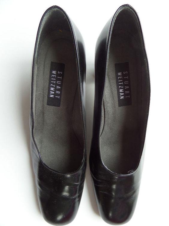 STUART WEITZMAN Leather 2.5-in Heels Shoes Size-9 B Black Very Good! #StuartWeitzman #PumpsClassics