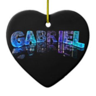 The Name Gabriel in 3D Lights (Photograph) Christmas Ornaments
