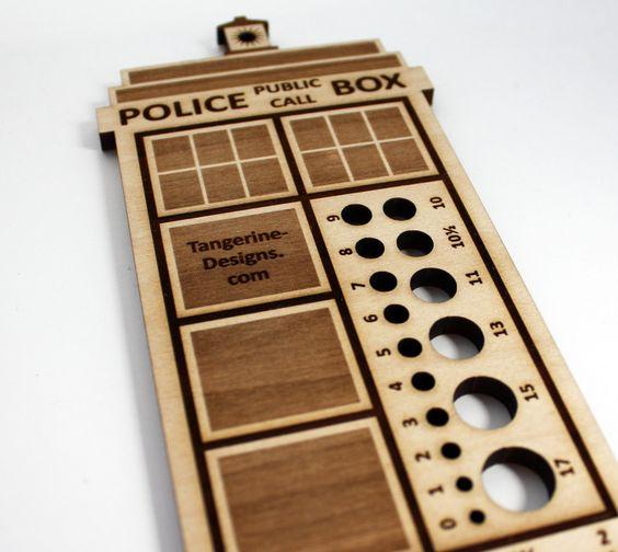 Police Box Knitting Needle Gauge, Laser Cut Wood, Sizes 0 to 17, Ruler. $11.50, via Etsy.