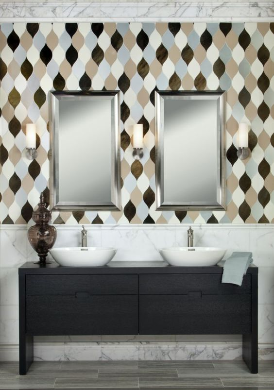 This stunning glass feature mosaic wall was installed by Decorative Materials. #luxeCO