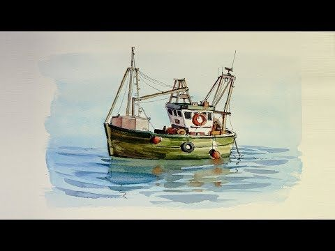 Pen And Wash Watercolor Demonstration Small Fishing Boat