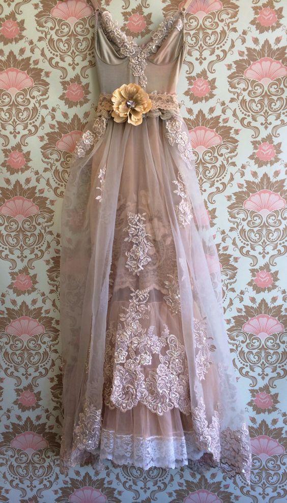 Heidis dress ivory tan asymmetrical crochet boho off for Bohemian mermaid wedding dress