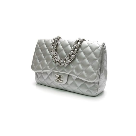 Pre-Owned Chanel Silver Quilted Calfskin Classic Jumbo Single Flap Bag (€3.335) ❤ liked on Polyvore featuring bags, handbags, silver, silver hand bag, chanel purses, chanel, pre owned handbags and man bag
