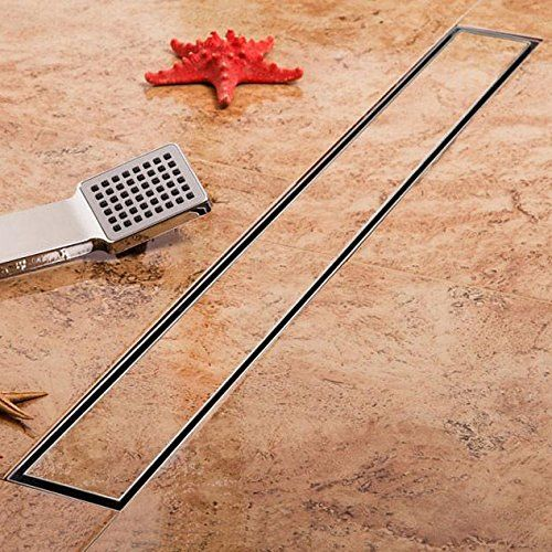 Kdrain 24 Inch Linear Shower Drain Long Shower Floor Drain With Tile Insert Grate For Bathroom Brushed Elegant Bathroom Flooring Elegant Bathroom Shower Drain
