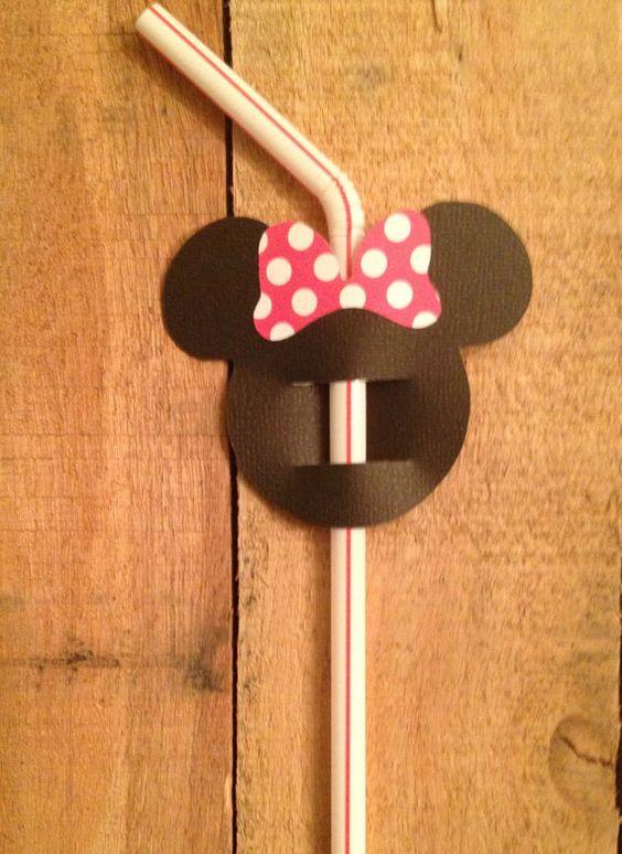 Banderas de paja de Mickey Minnie Mouse juego de por BASHPartyCo