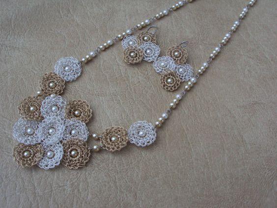 Gentle.Crochet Necklace Set.Custom Jewelry. Lace by TaLaTwists,