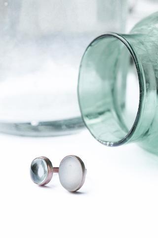 AMÉTHYSTE - Bague sertie de pierre d'Améthyste vert d'eau & quartz -
