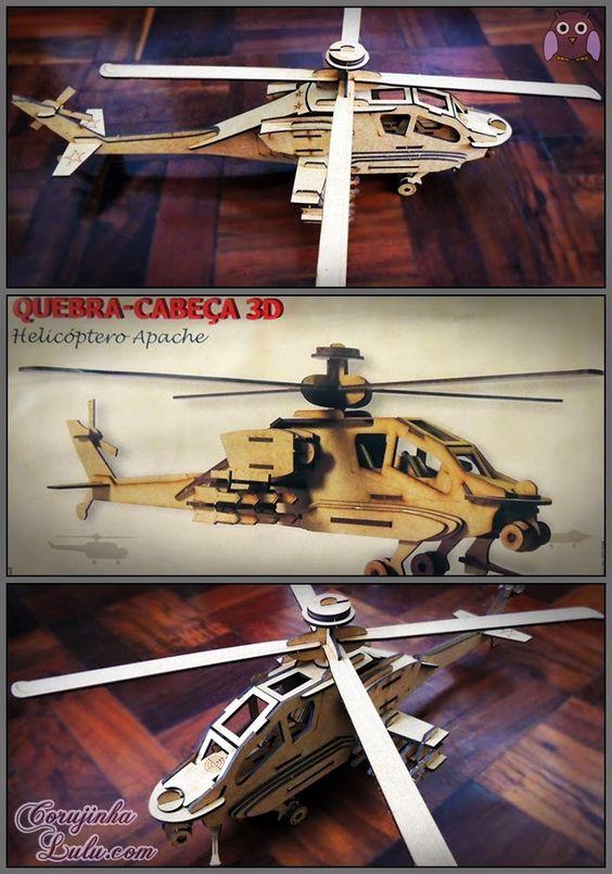 Quebra-Cabeça 3D - Helicóptero Apache (Cia Laser) | www.corujinhalulu.com