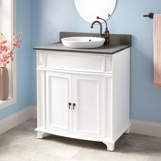 "30"" Kinloch Vanity for Semi-Recessed Sink - White"