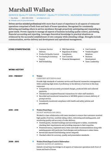 Waiter Waitress Cv Example Resume Skills Resume Examples Cv Examples
