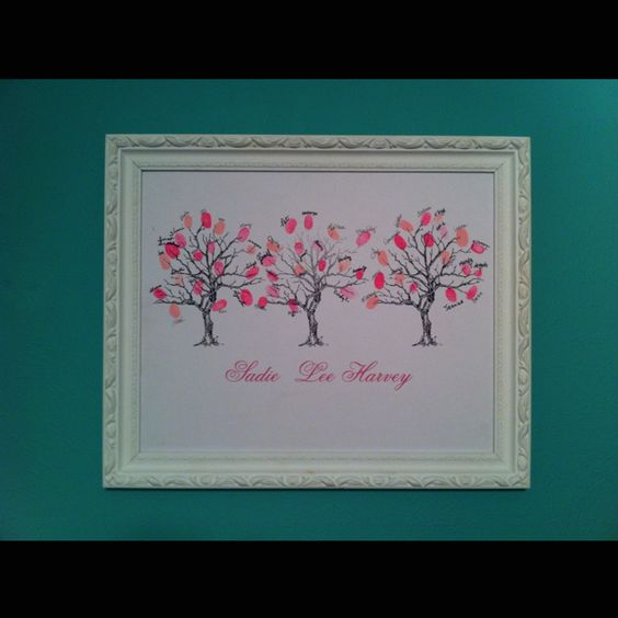 A thumb print guest tree that I took to all of my showers for my soon to be born baby girl. So she can remember all the people who loved her even before she was here!