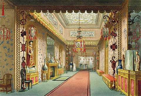 Painting of the interior of the royal pavilion brighton for Interior design agency brighton
