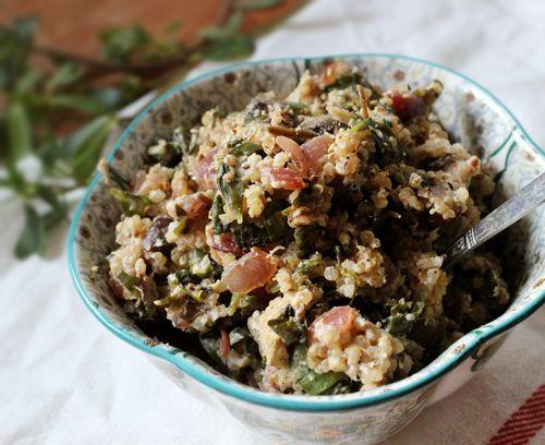 Mushroom, Onion, Quinoa & Purslane Scramble (Substitute kale or chard ...