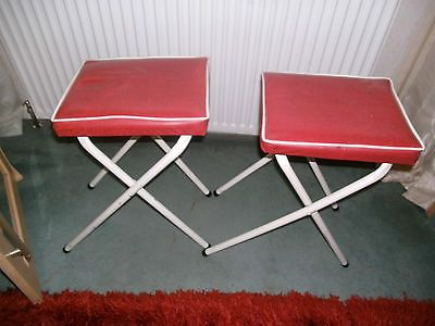 Pair vintage / retro #1960s vinyl #steel #folding kitchen / camping /- set 1,  View more on the LINK: http://www.zeppy.io/product/gb/2/391493351831/