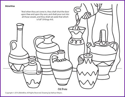Enjoy Coloring This Picture Of The Pots Elijah Poured Oil Into To Save Widow Woman And Her Sons