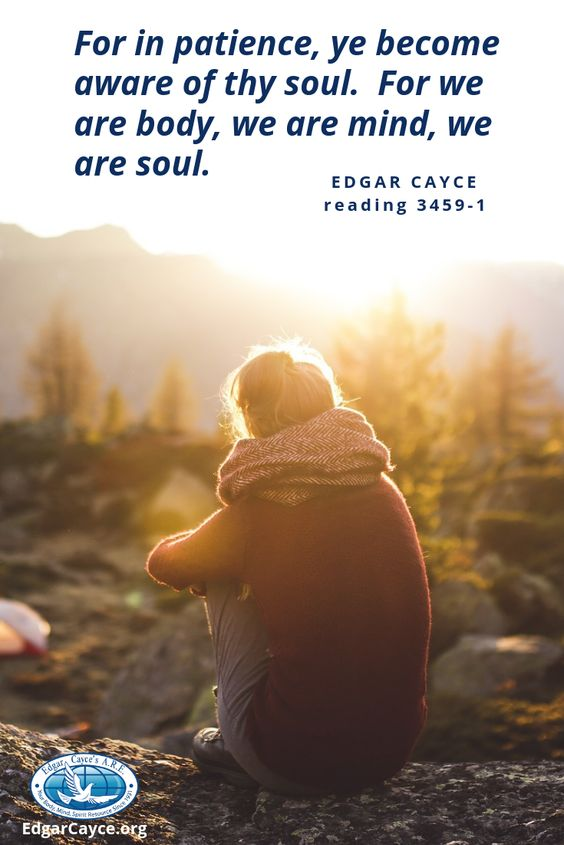 For in patience, ye become aware of thy soul. For we are body, we are mind, we are soul. #EdgarCayce reading 3459-1 What does this reading mean to you?