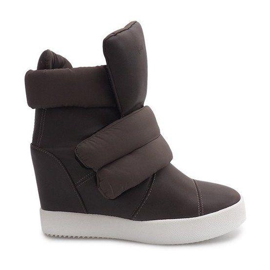 Trampki Damskie Butymodne Zielone Ocieplane Sneakersy Na Koturnie 01 3 Khaki Sneakers Wedge Sneakers Wedges