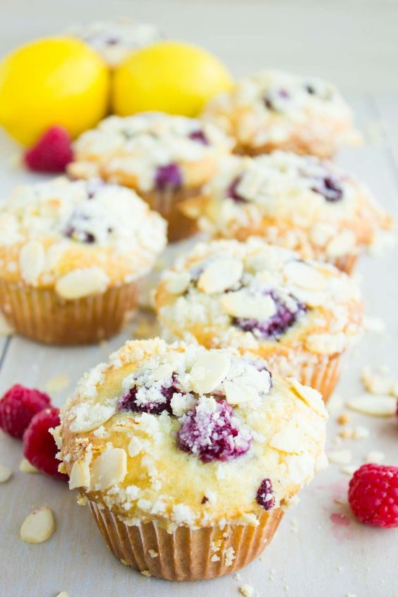 muffins boosted with lemon and dotted with fresh raspberries. Topped ...