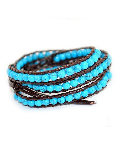 Blue Turquoise 3 Wrap Leather Bracelet